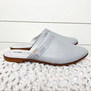 TOMS Jutti Embossed Mules Glacier Grey Leather 8M